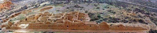 The Chaco Canyon Anasazi built Great Houses which were huge pueblos with hundreds of rooms.  Chetro Ketl is a south-facing, D-shaped pueblo with a long back wall that is 500 feet long. Click to enlarge Chetro Ketl