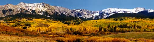 The San Juan Mountains are the heart of southwestern Colorado. With 13 peaks over 14,000 feet high, they are some of the most majestic mountains in the country.  Click to enlarge Last Dollar Road