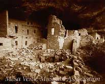 This photograph of Spruce Tree House was taken by Jesse L. Nusbaum in the summer of 1907. He was contracted by Dr. Edgar Hewett to spend that summer assisting A.V. (Ted) Kidder with the excavation and photographing of the ruins at Mesa Verde.  It shows the kiva and courtyard area before it was restored by the National Park Service. Click to enlarge Spruce Tree House.